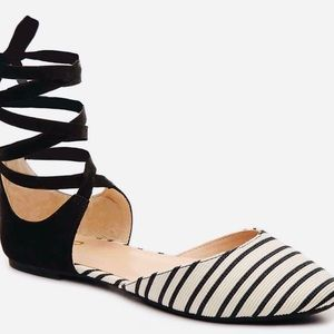 Mix No 6 Otisa Black White Striped Ankle Wrap Flat